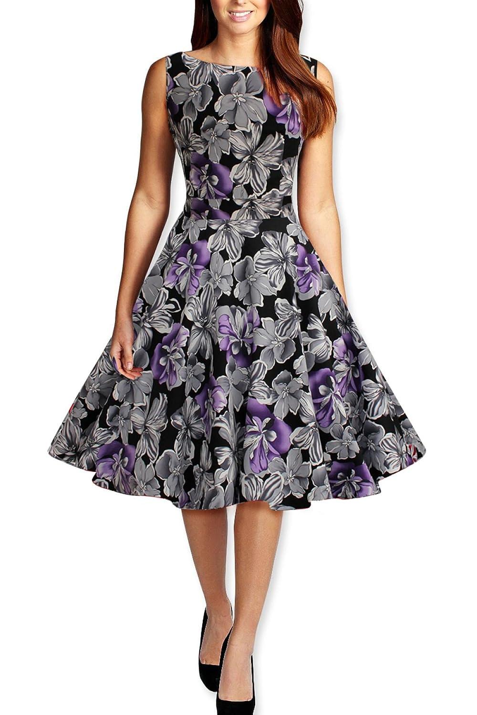 Frau Retro-Taille Dünnen Runden Ansatz Sleeveless Druckkleid Frauen,Purple-XXL