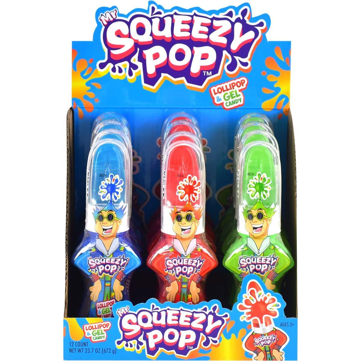 Koko's Mr. Squeezy Pop Lollipop Candy, 1.97 oz (56 g) - 12 Count Display Box