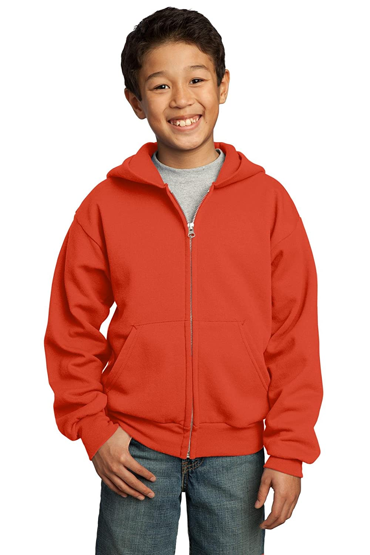 Port /& Company Youth Full Zip Fleece Hooded Sweatshirt