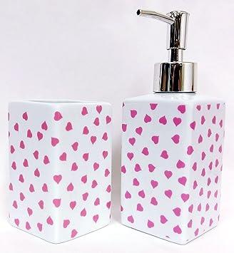 Rosa diseño de corazones de jabón/bomba de líquido dispensador y vaso juego de toallas de baño decorada a mano en el Reino Unido: Amazon.es: Hogar