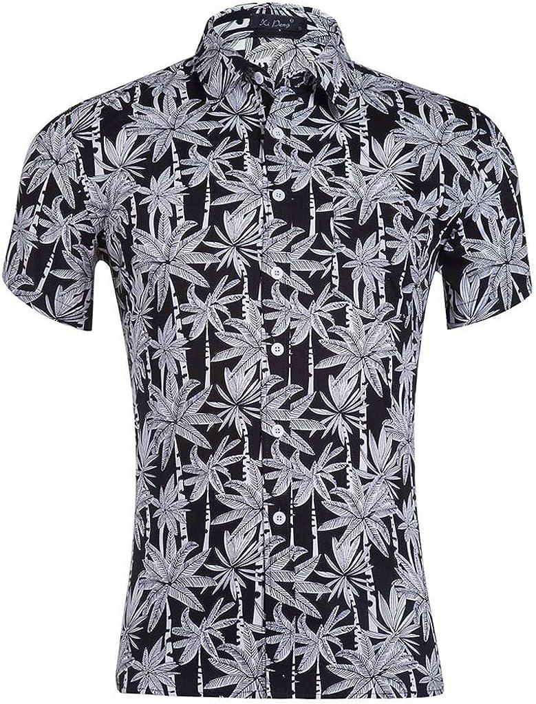 Tiitstoy Mens Fashion Casual Slim Blouse Tops Splice Stripe Printed Panel Lapel Tee Shirts Short Sleeve T-Shirt