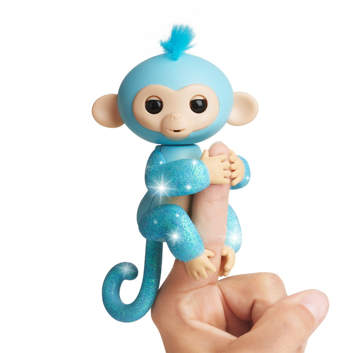 WowWee Fingerlings Glitter Monkey - Amelia (Turquoise Blue Glitter) - Interactive Baby Pet - By