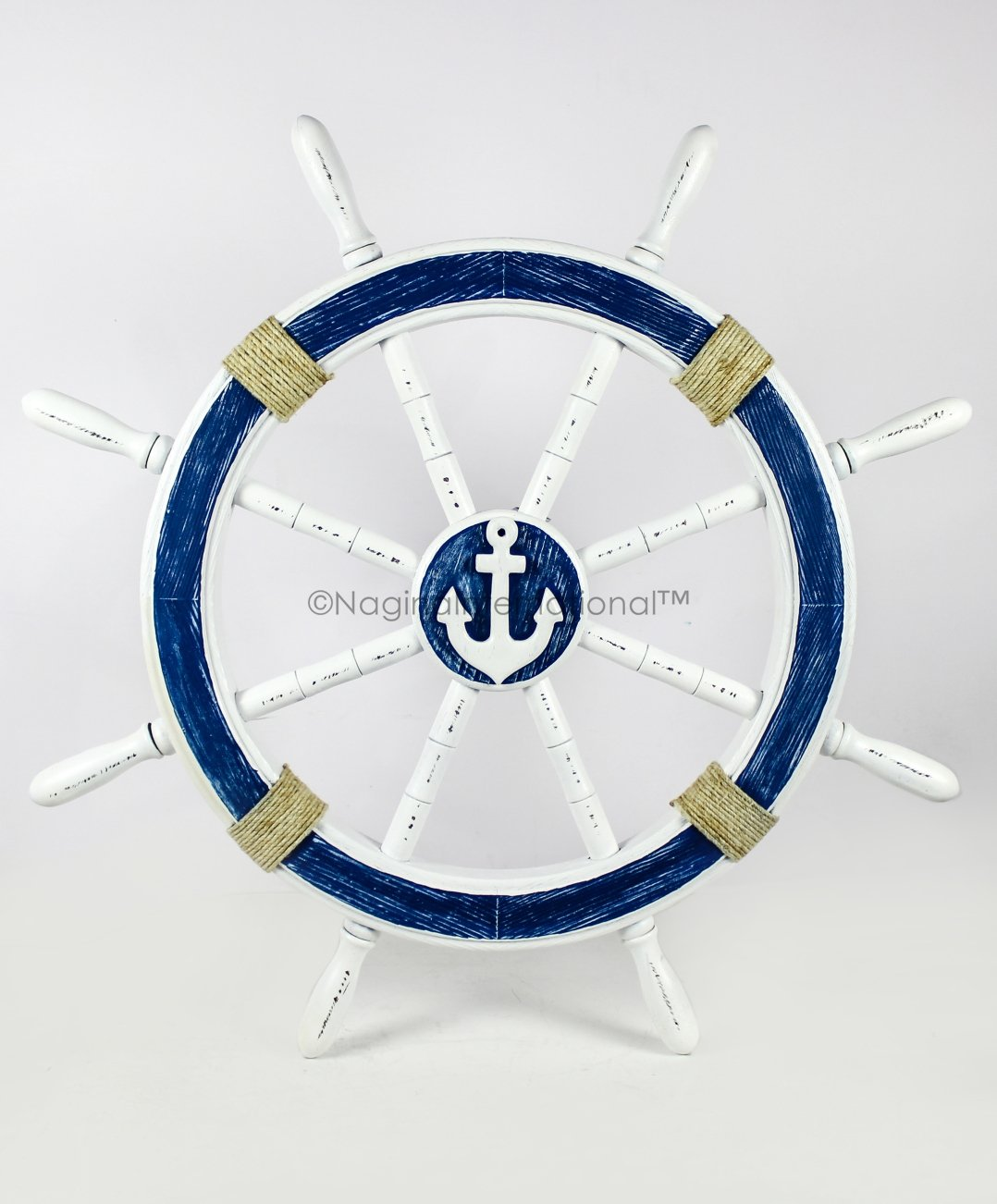 Nagina International Nautical Decorative White Blue Premium Ship Wheel with Accentuated Anchor and Rope | Pirate's Wall Decor | Sea Gift (30 inches)