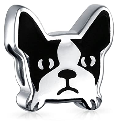 01a356c2ea5 Image Unavailable. Image not available for. Color: Frenchie French Bulldog  Face Dog Pet Charm Bead 925 Sterling Silver Fits European Charm Bracelet For