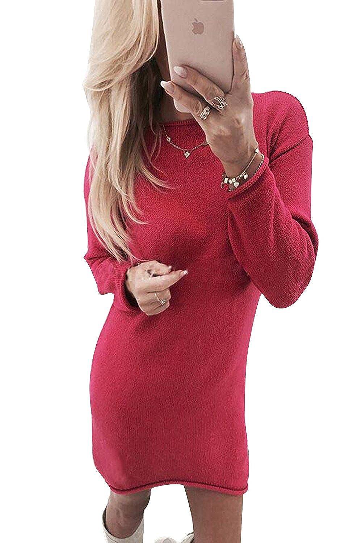 ZIOOER Damen Pulli Pullover Rock Longshirt Kleider Winterkleider Hemd Kleid Strickkleider Langarm Mode Stricksweat Strickpullover Lose Sweatkleid Minikleid