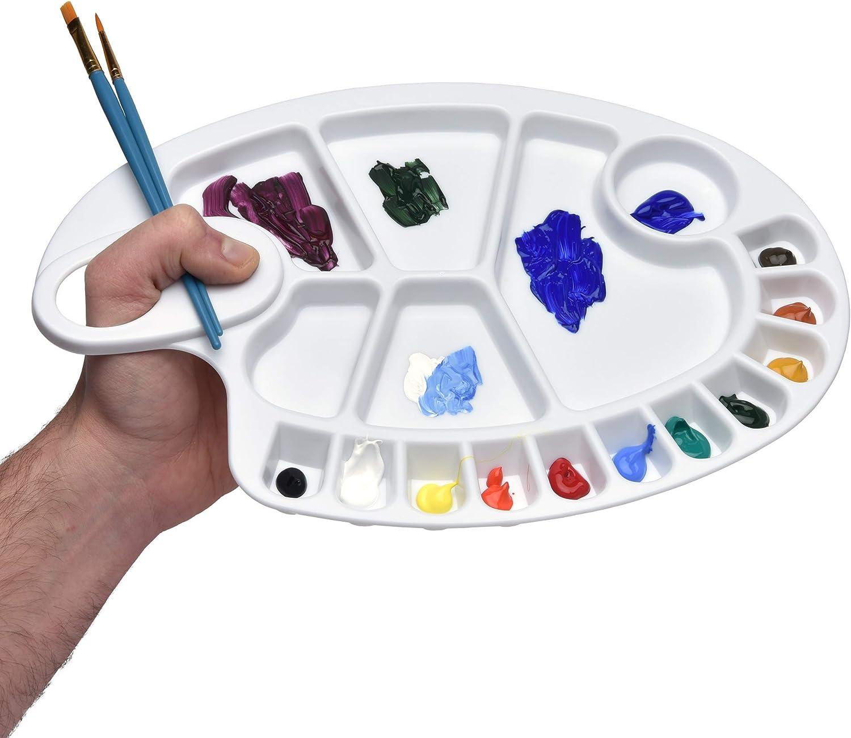 Con 17 hoyos y abertura Artina paleta de mezcla de pintura XXL para acr/ílica acuarela y m/ás 30,5x21 cm
