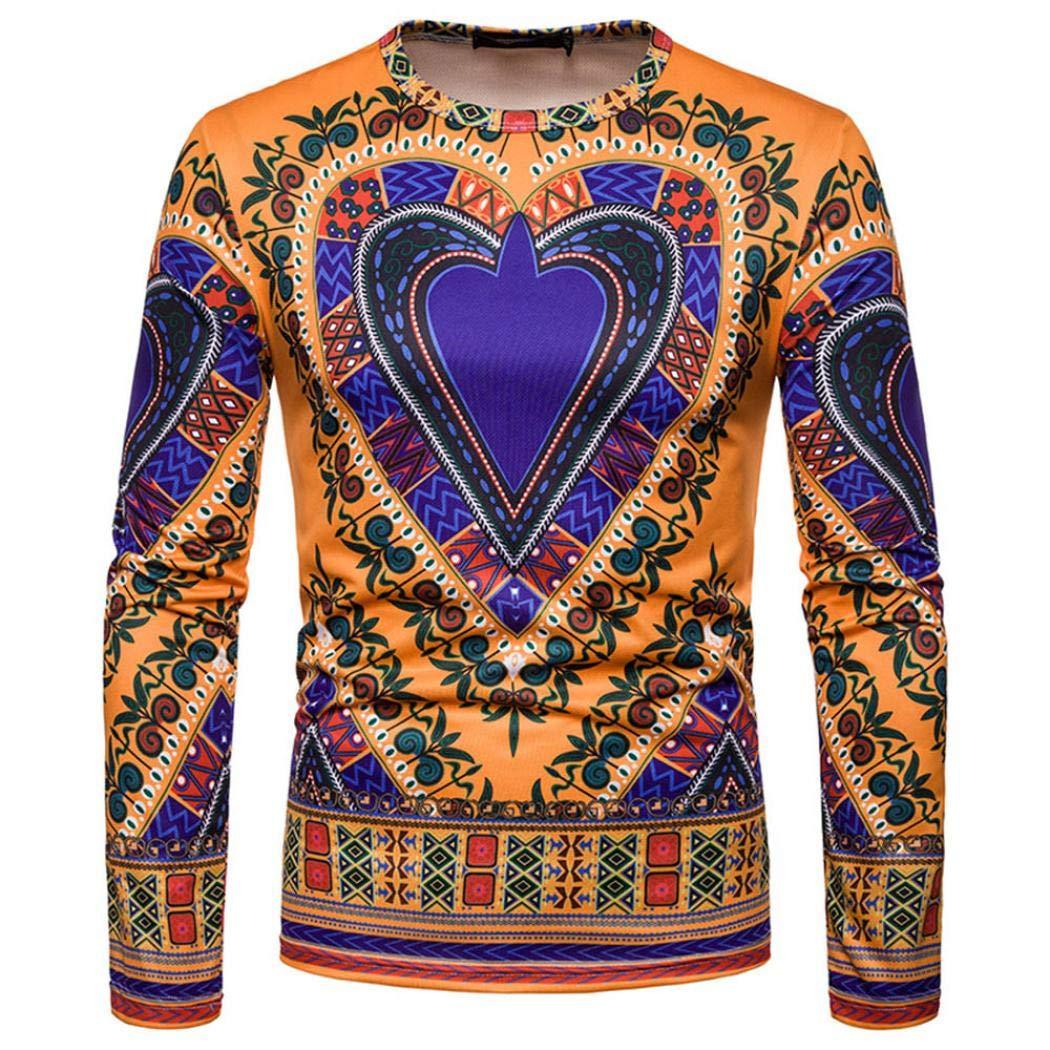 kaifongfu Sweatshirt Top,African 30D Print Men's O-Neck Long Sleeve Dashiki Shirt Yellow2XL