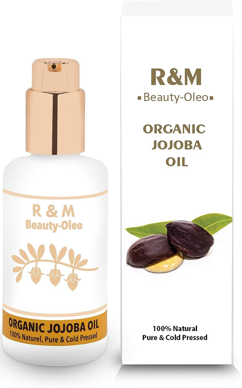 R&M - Aceite de jojoba prensado en frío para cara, cuerpo, cabello y más - 100% orgánico, comercio justo - Una piel más bella, una cara más limpia y un cabello fuerte - Botella de dispensador - 10