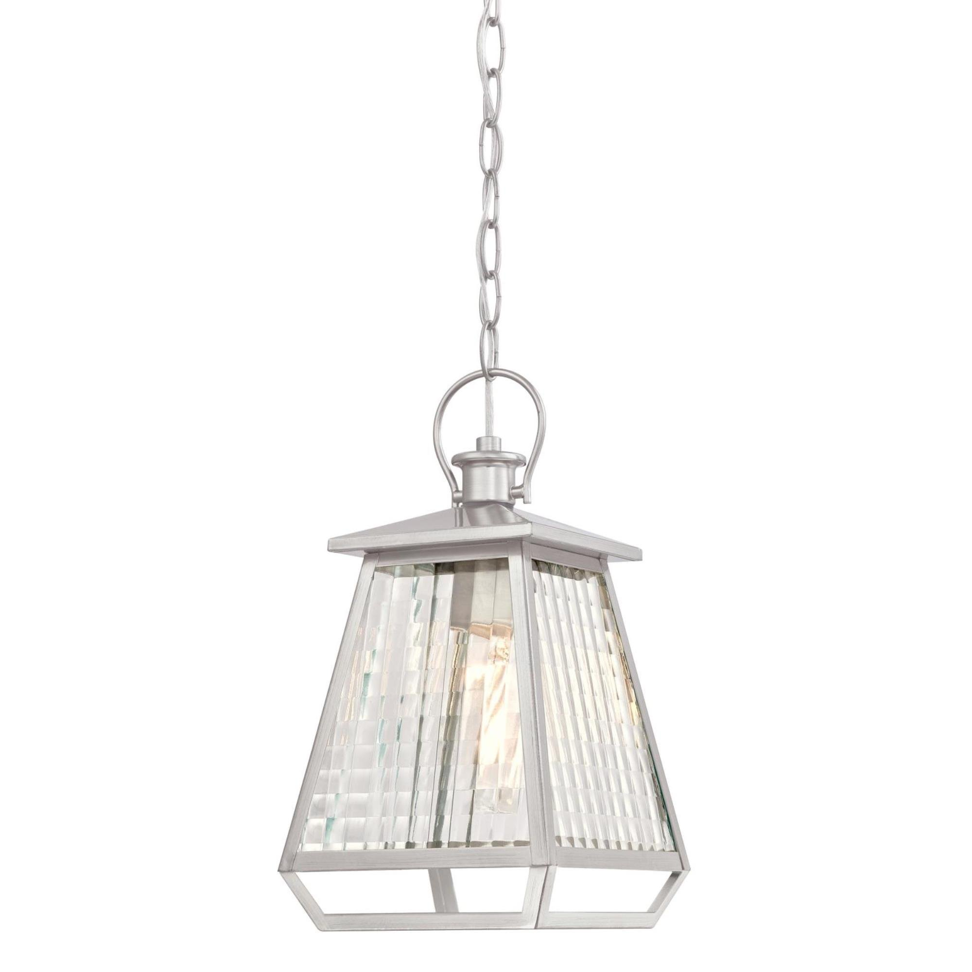 Westinghouse Lighting 6357600 Aurelie One-Light, Nickel Luster Finish with Clear Waffle Glass Outdoor Pendant,