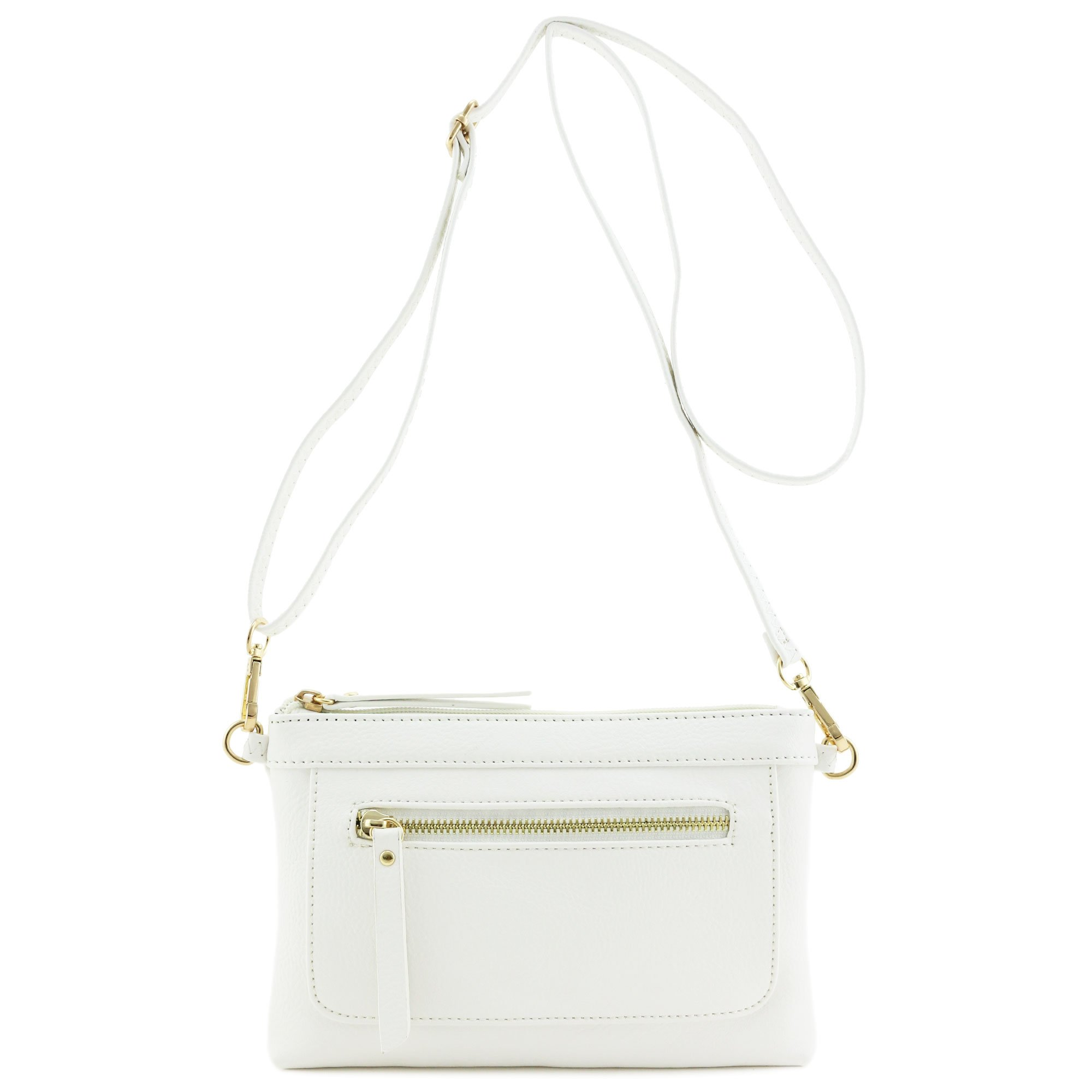 Multi-functional Wristlet Clutch and Crossbody Bag White