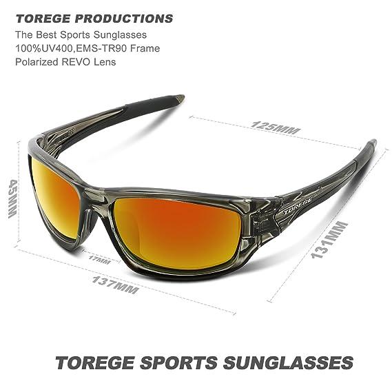 b761ebdf58 Amazon.com  Torege Polarized Sports Sunglasses For Man Women Cycling  Running Fishing Golf TR90 Unbreakable Frame TR011 (Transparent Gray Red  lens)  Sports   ...