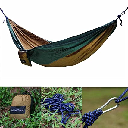 Generic Portable Camping Outdoor Bed Double Hammock Parachute Nylon Fabric Brown+Green