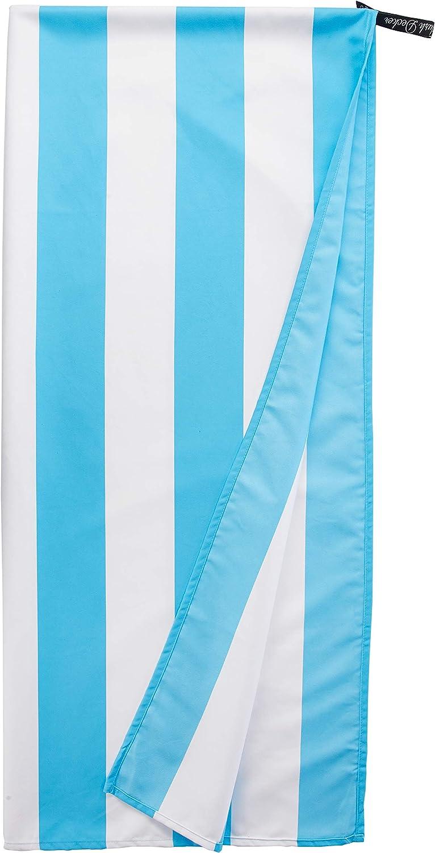 Flush Decker Oversized 35 inch X 78 inch XXL 100% Microfiber Quick-Dry, Sand Free Stripe Cabana Beach Towel Sky Blue