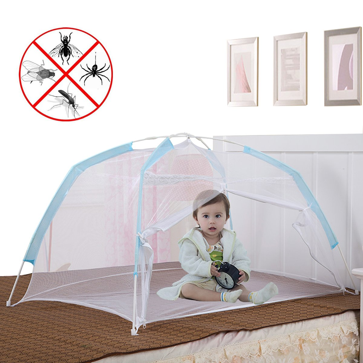 Baby Crib Tent for Bed, Portable Mosquito Net for Toddler Travel Play Canopy on Mattress Cover, Mesh Playpen Safety Kids from Sleep Bumper Nursery Netting on Cot Bedding, can be Folding with Pack Blue coffled iek040036001mayeight
