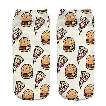 FHCG 5 unids/Set Calcetines Suaves Hamburguesa Pizza Calcetines de algodón Creativo Colorido patrón de Puntos de Rayas Jacquard Arte Calcetines Ocasionales ...