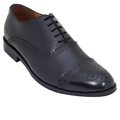 Handmade Formal Brogue Shoe In Real Calf Leather (Lace ups) For Men In Black Colour