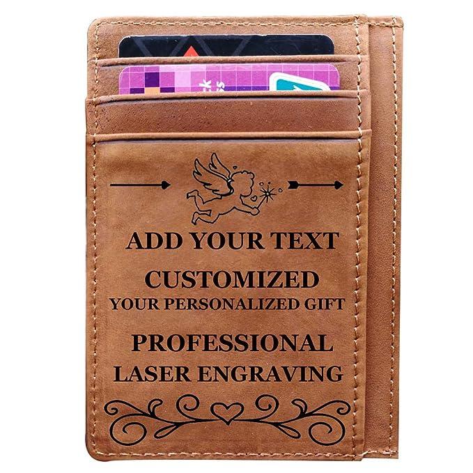 Engraved Wallet Card Holder To Husband Boyfriend Valentines Day Anniversary Birthday Gift Custom Brown
