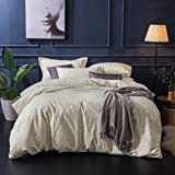 Merryfeel Duvet Cover Set, Classic Damask Jacquard Bedding Set(1 Comforter Cover with 2 pillowshams) - Full/Queen Cream
