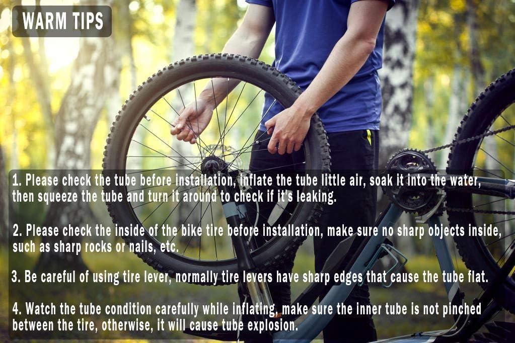 voxmude 26 inch Bike Tube Bicycle Inner Tube Fits for Mountain Bike Tire 26 x 1.95 26x2.0 26 x 2.125 Standard Schrader Valve AV32mm 26x2.1 Pack of 2