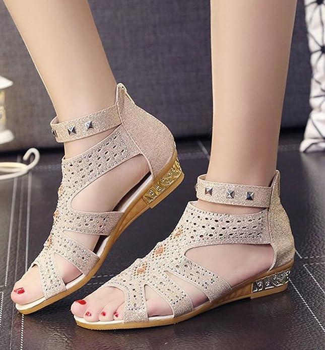 Anguang Donna Luccichio Sandali Zipper Elegante Cavo Piatto Sandali Antiscivolo Nero#2 41 YhBeuFLobE