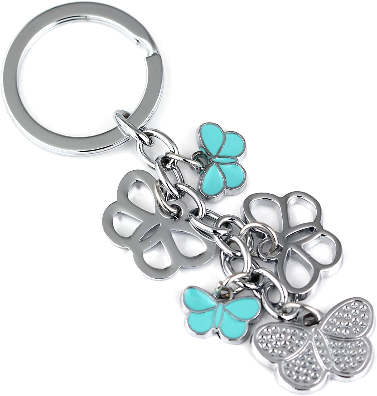 Red Maycom Butterfly Keychain Fashion Accessories Insect Key Chain Ring Keyring Keyfob Keyholder