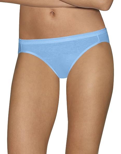 aaa2bbeff57b Hanes 90563899234 Ultimate Comfort Cotton Womens Bikini Panties44; Blue  Plus White - Size 8 - Pack of 5 at Amazon Women's Clothing store: