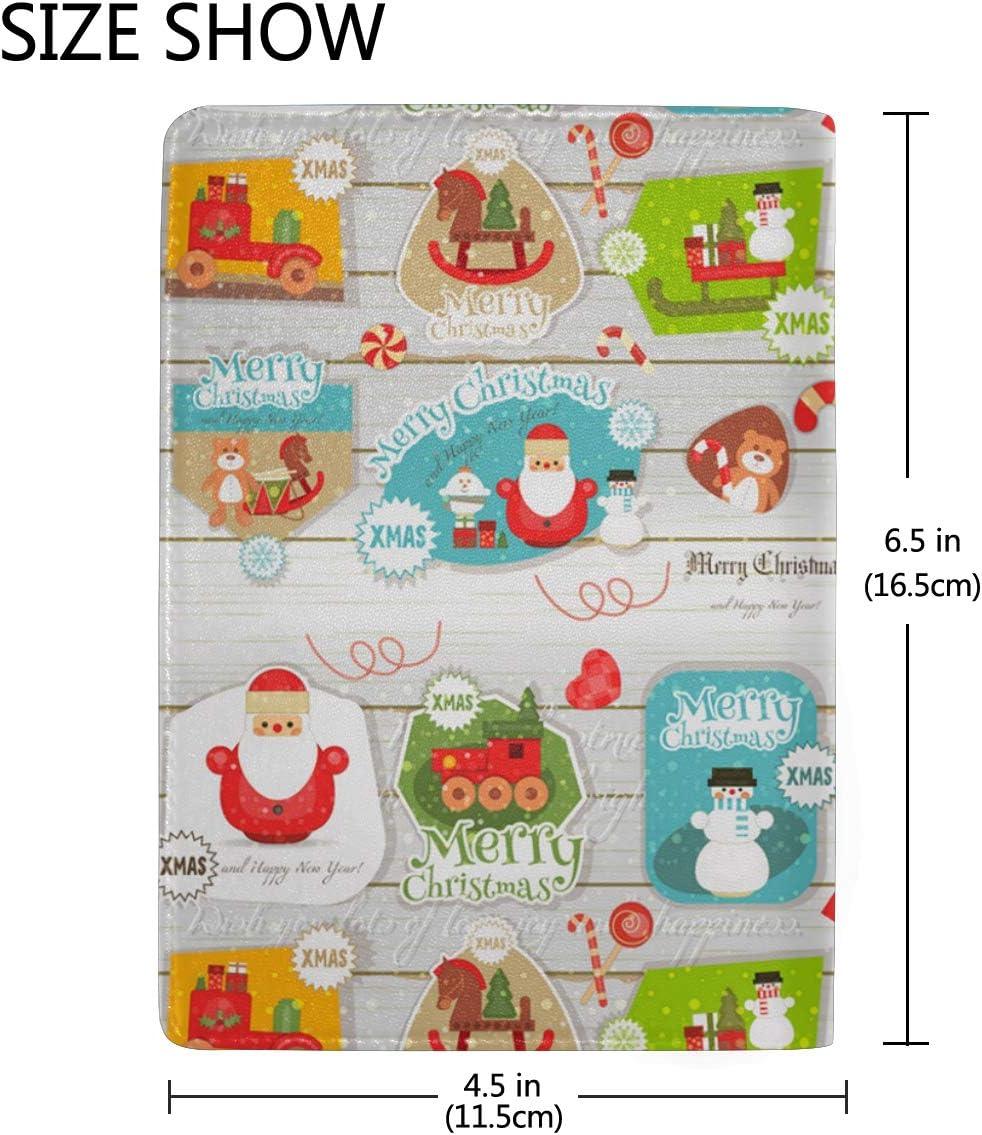 Santa Claus Festive Figure Leather Passport Holder Cover Case Blocking Travel Wallet