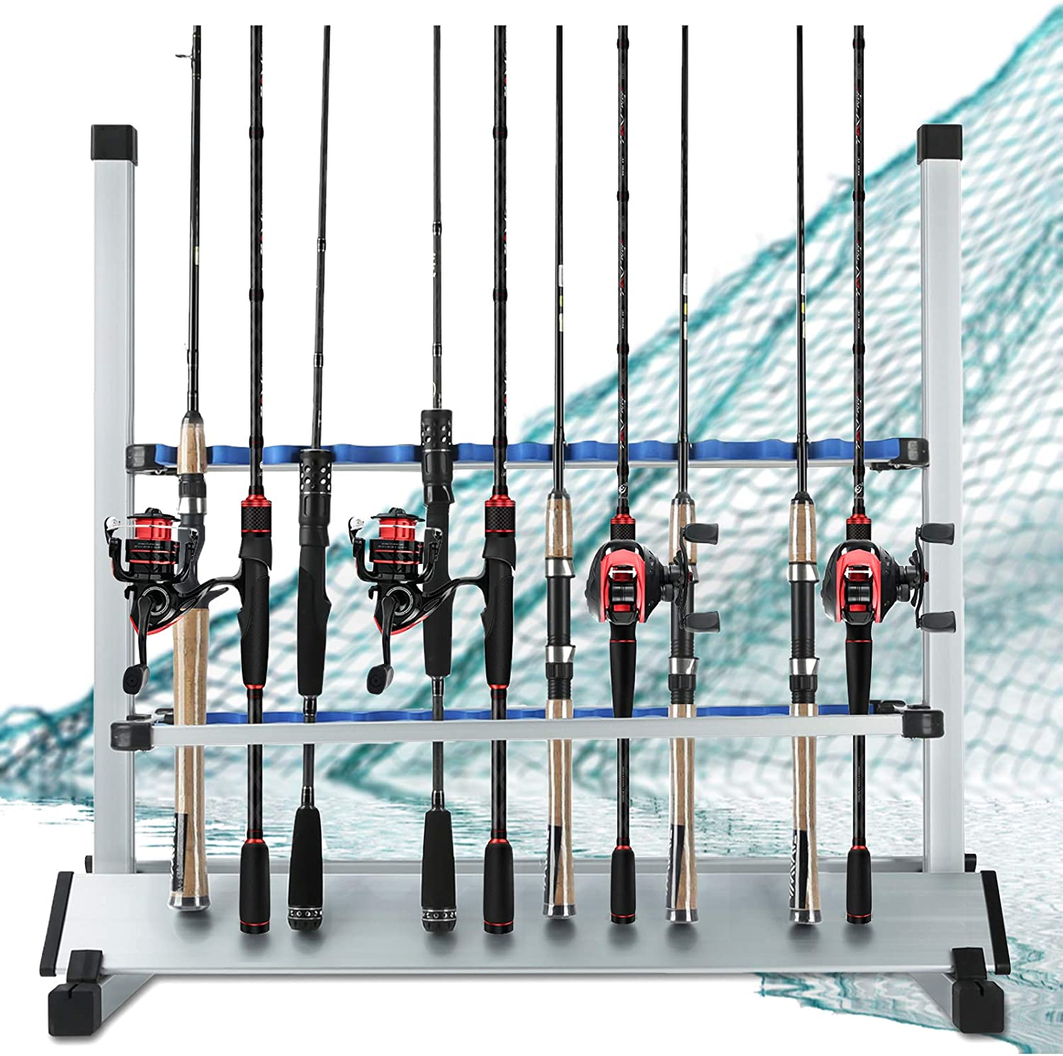LUXHMOX Fishing-Rod Holder Rack Holds 24 Any Type of Rods and Storage Organizer Combo for Garage