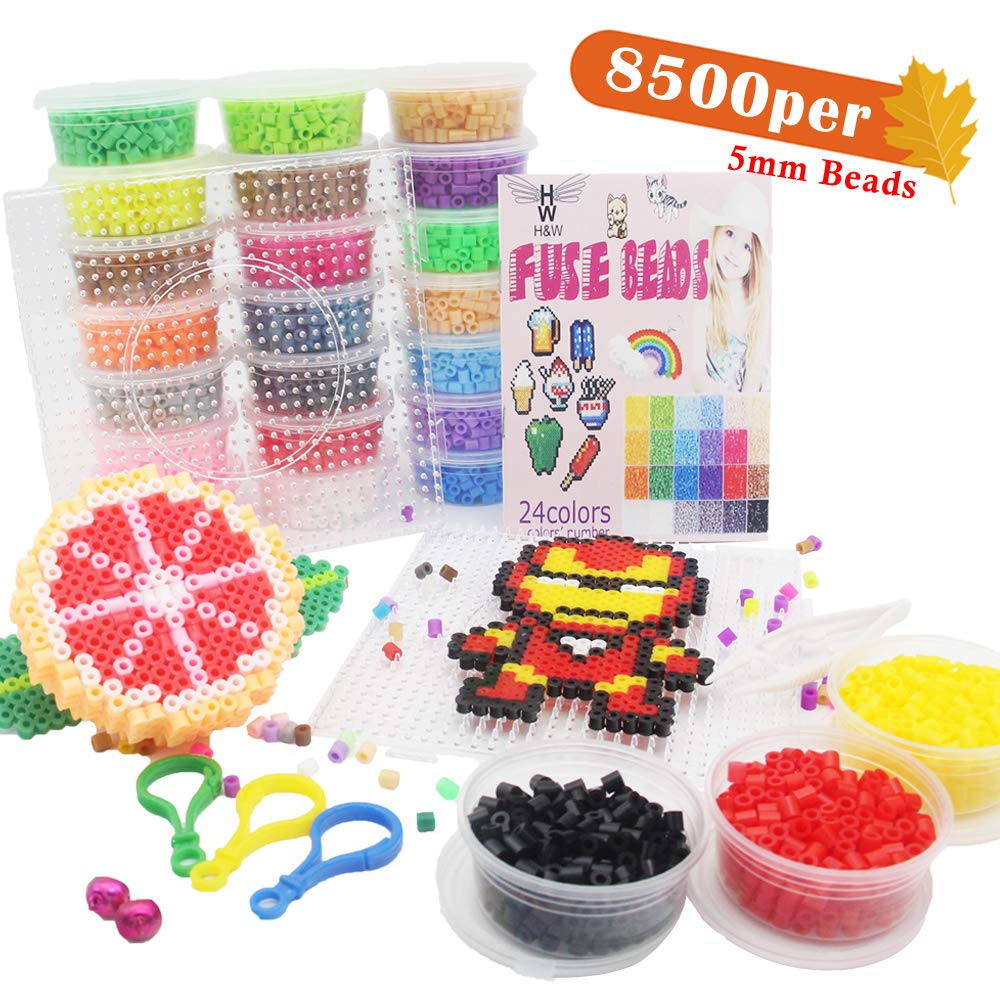 H&W 8500 per, 24 Colors 5mm Fuse Bead Kits for Kids, Add Color Number & Supply Refill Bag, 2 Tweezers, 2 Big Square Peg Boards, 5 Ironing Paper, Parts(WA11-Z1) by H&W