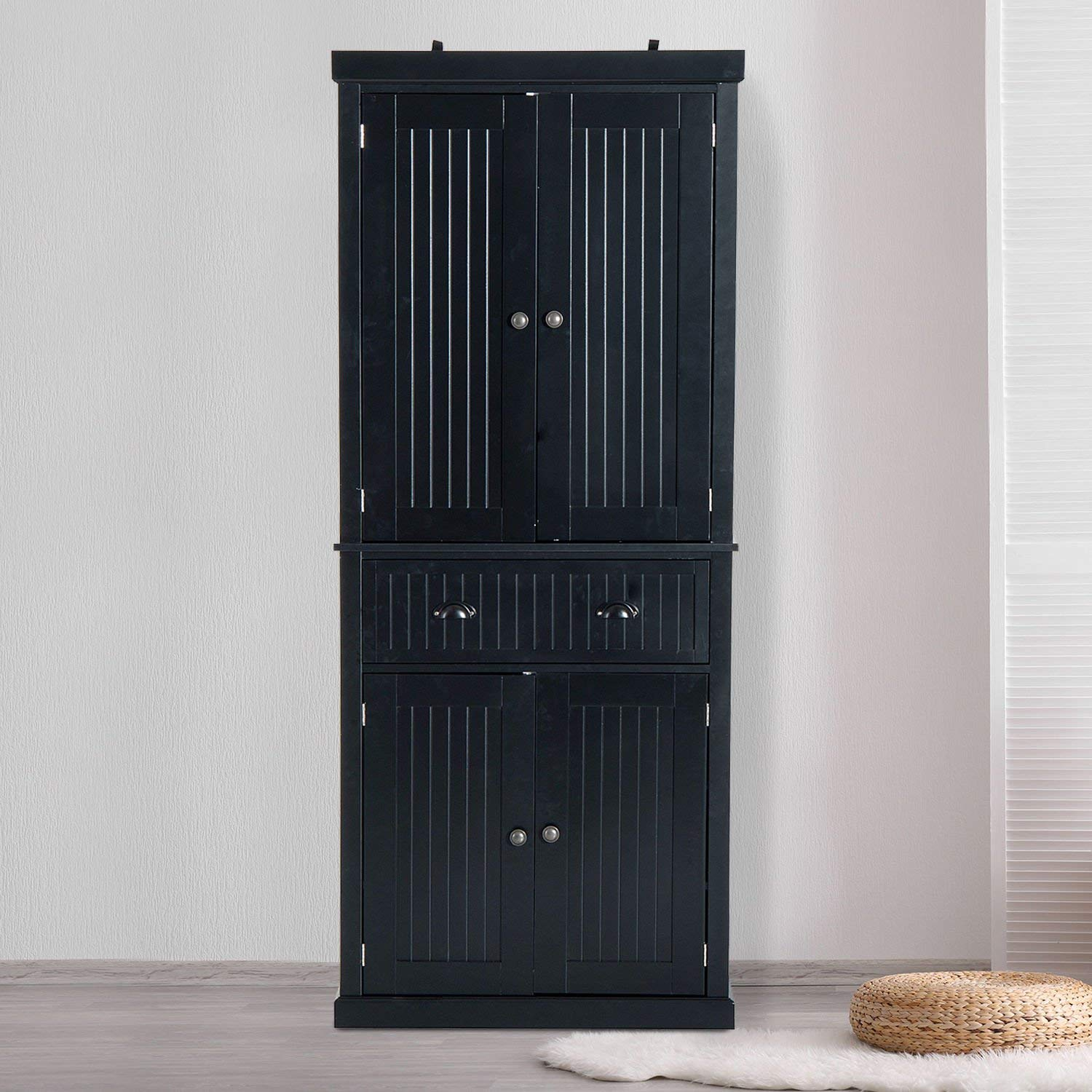 """Festnight Tall Kitchen Pantry Storage Cabinet, Traditional Standing Kitchen Pantry Cupboard Cabinet Black 72"""" by Festnight (Image #3)"""