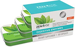 Zenwise Health Travel Size Digestive Enzymes Plus Prebiotics & Probiotics -Supplement for Daily Digestion + Immune Support -for Occasional Gas, Gut Bloating & Irregularity -90 Servings