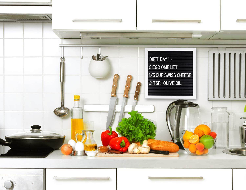 WOWGO Letter Board, 25.4 X 25.4cm Buchstaben Tafel veränderlich DIY Message Wand Dekoration Tafel mit 340 weißen Buchstaben & Zahlen, Beutel und Schere