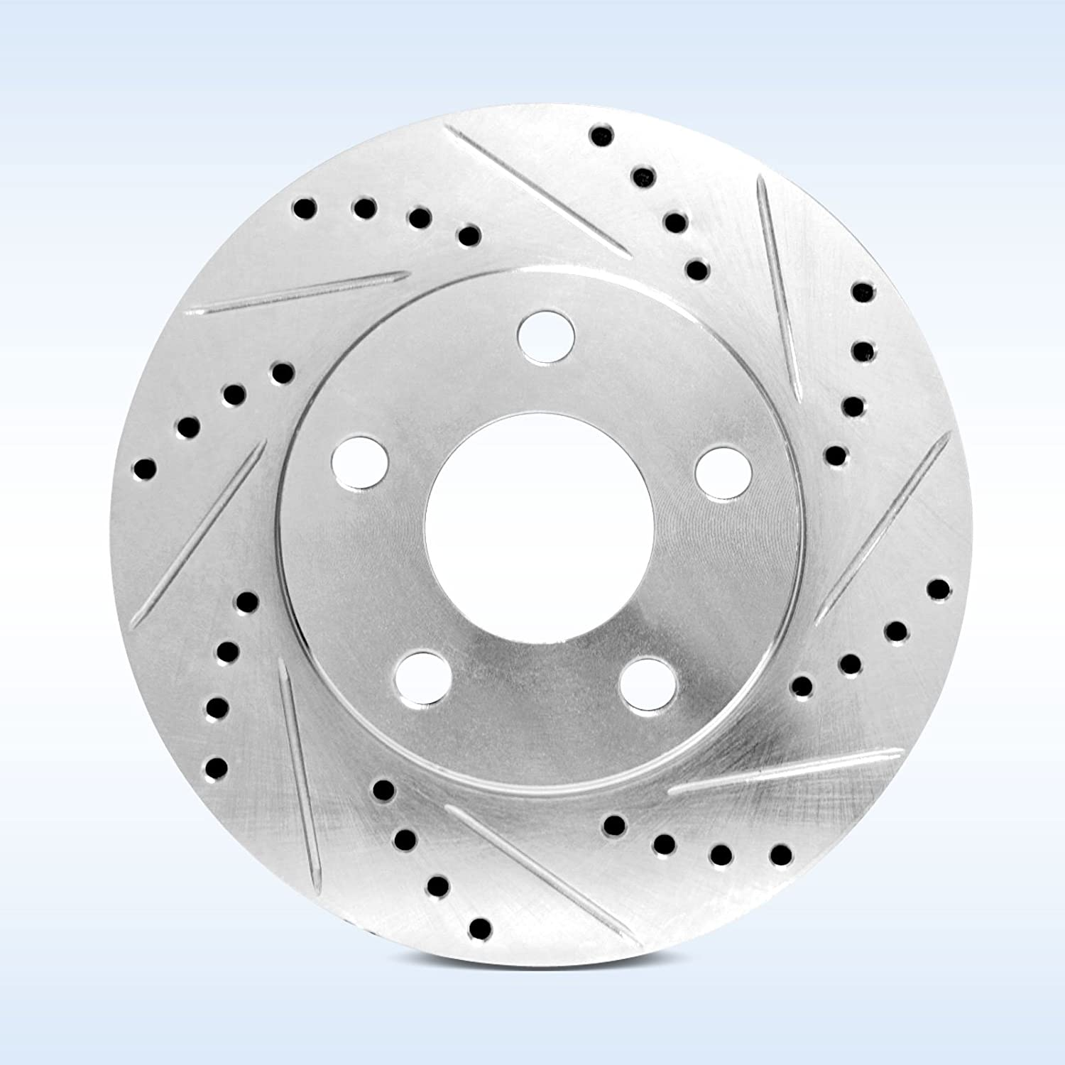 81842 Power Sport Cross Drilled Slotted Brake Rotors and Ceramic Brake Pads Kit REARS