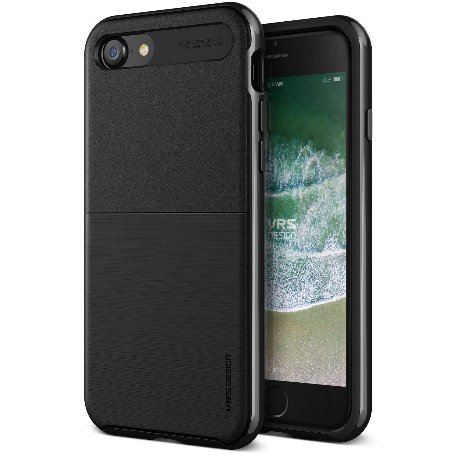 VRS Design [High Pro Shield] Shockproof Case Cover Compatible with Apple iPhone 7 / 8 - Metal Black
