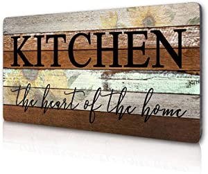 Smarten Arts Farmhouse Kitchen Signs Wall Decor Funny Kitchen Wall Art-Kitchen is The Heart of The Home-Sunflower Themed Printed Large Wood Signs Kitchen Wall Decor Home Decorations 16
