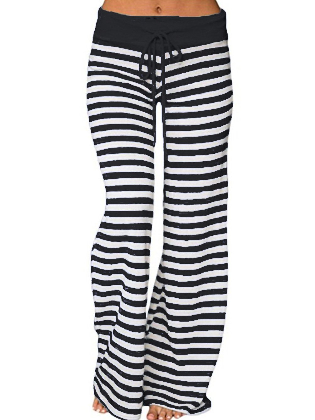 Famulily Women's Stretch Comfy Striped Drawstring Wide Leg High Waisted Pajama Pants (Medium, Black)