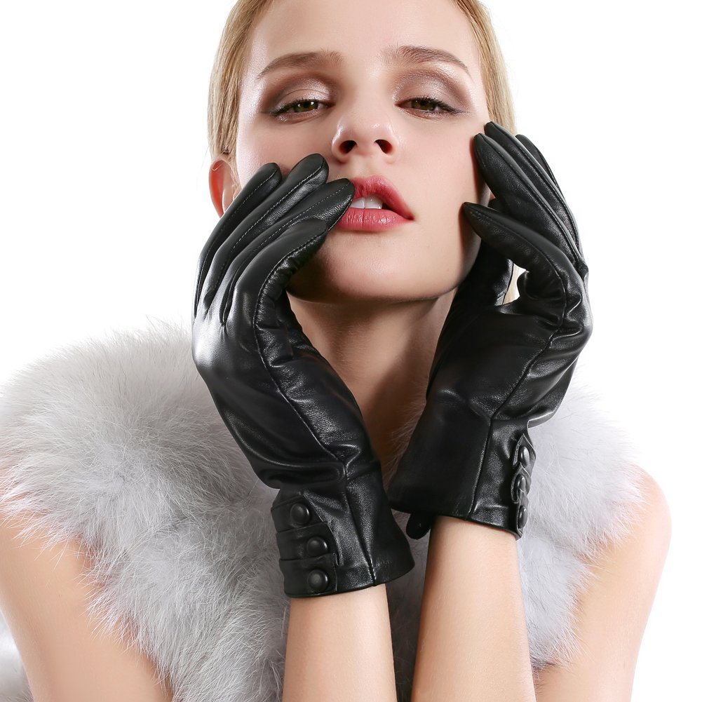 Women Leather Gloves Cashmere Lined Touchscreen Texting Lambskin Warm Gloves