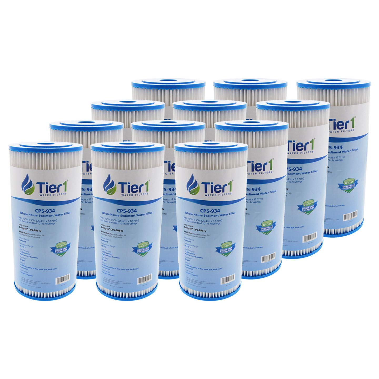 Tier1 Replacement for Pentek & American Plumber CP5-BBS-D, CP5-BB, W5CPHD, 5 Micron 10 x 4.5 Pleated Polyester Sediment Water Filter 12 Pack