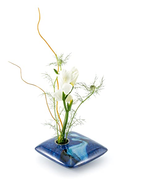 Amazon Georgetown Pottery Square Ikebana Flower Vase Blue