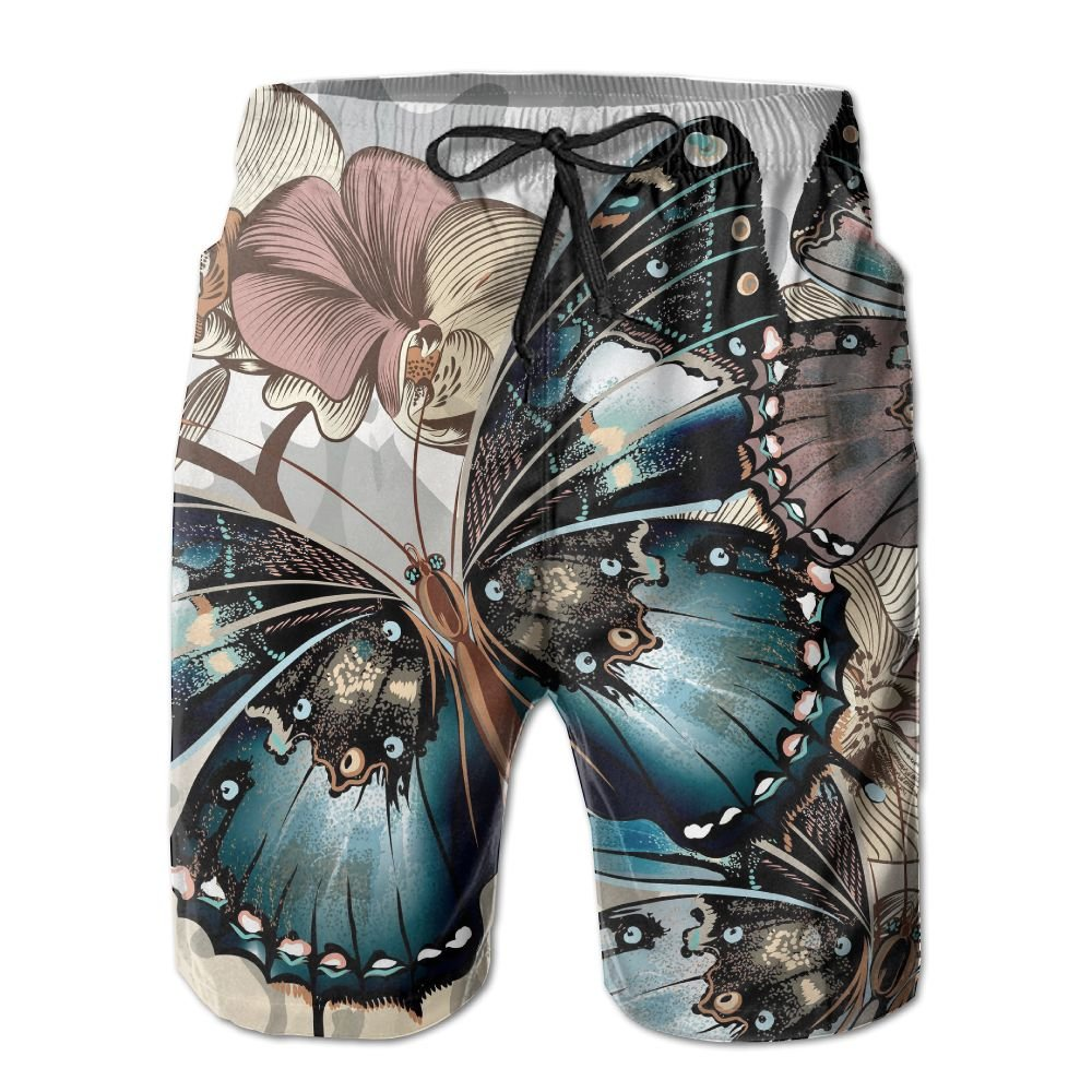 Tvsuh-u Orchid and Butterflies Mens Casual Beach Shorts Quick-Drying Swimming Trunks