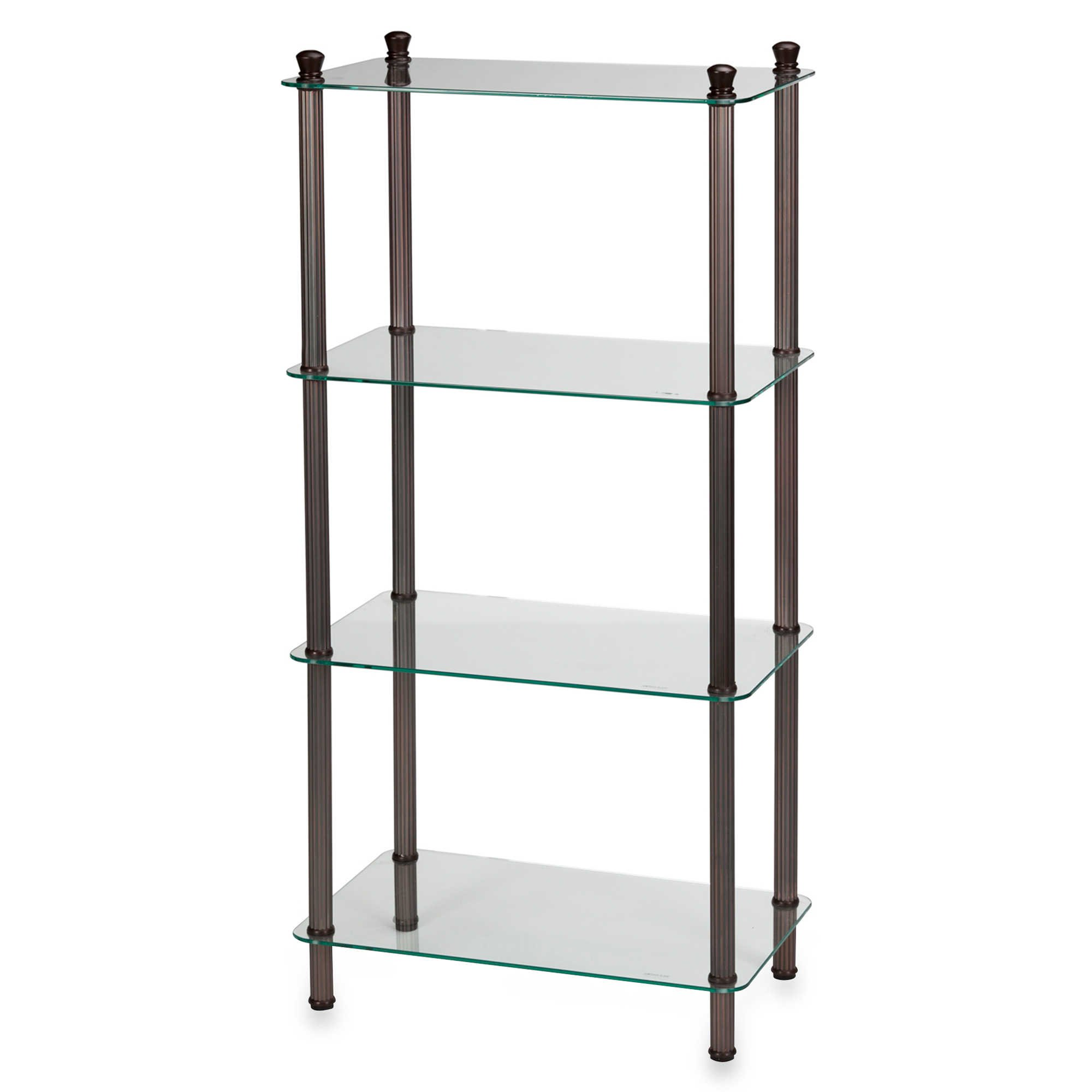 Bathroom Shelf in Oil Rubbed Bronze Steel / Tempered Glass 4-Shelf Wide Tower - 20'' L x 12'' W x 42'' W