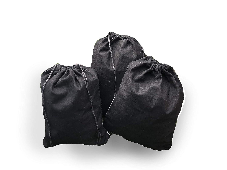12 x 18インチ、ブラックコットンモスリン巾着バッグ、プレミアム品質リサイクル可能ファブリック、から選択数量12、25、50,100、200 L ブラック 100  B07D9VCQBZ