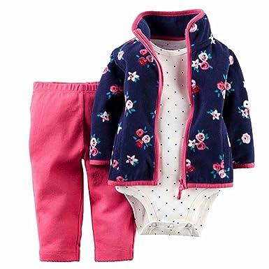 e2e48d4b4 Carters Infant Girls 3 Piece Set Blue Floral Jacket Leggings Bodysuit Outfit  3m