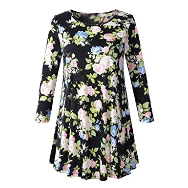ef69e3f81ab4cd DOINSHOP Blouses for Women Long Sleeve O Neck Floral Fold Hem Tops Summer T- Shirt