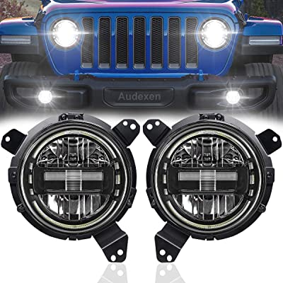 Jeep JL Headlights = Jeep 7 Inch Headlights + JL Headlight Mounting Bracket Adapters for Jeep Wrangler JL JLU Sahara Rubicon Sport 2020-2020, DOT Approved, 2PCS, Black: Automotive