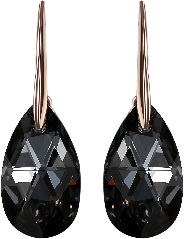 Aroncent - Pendientes con forma de lágrima negra con cristales de Swarovski