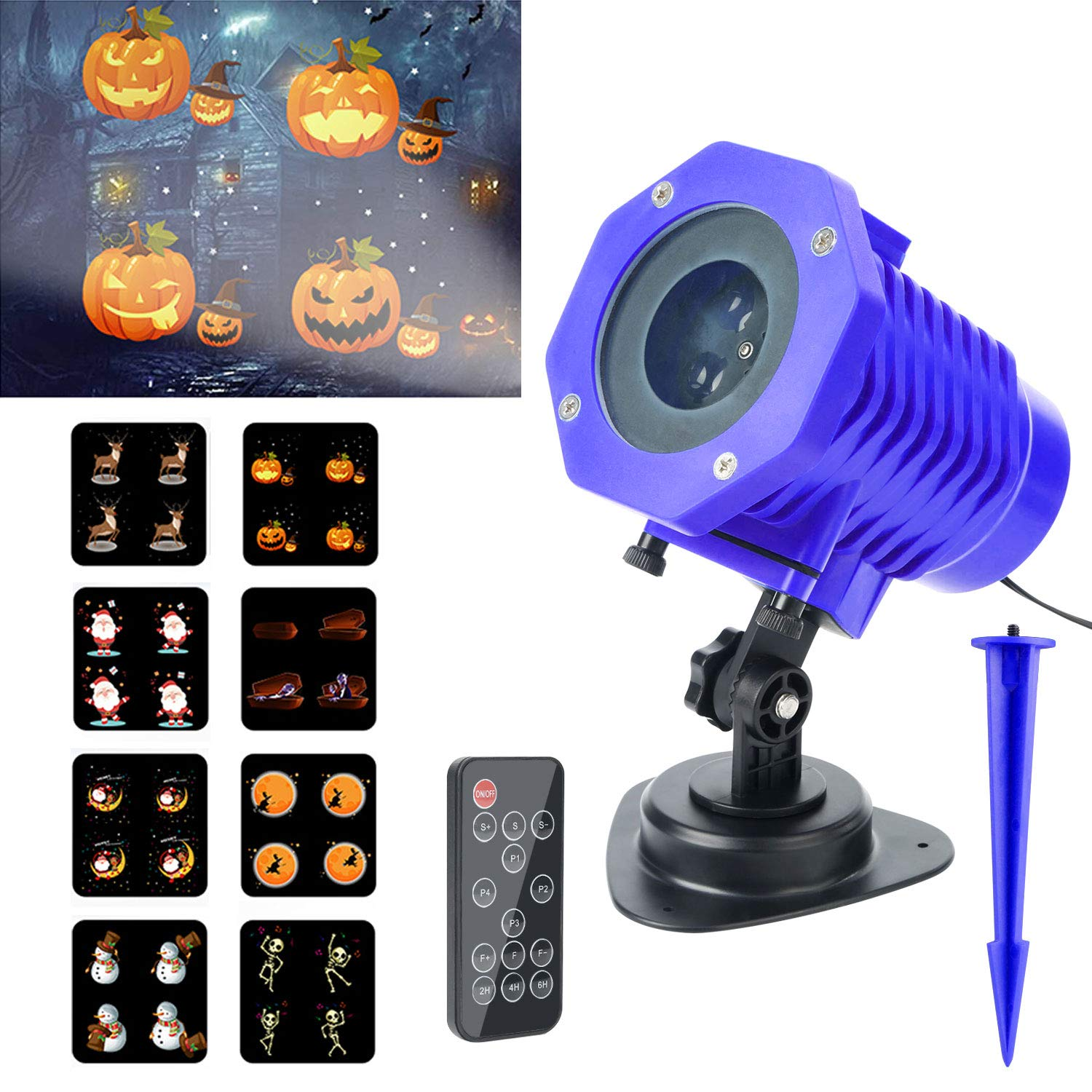 LED Projector Lights, Elegant Choise 2018 New Animated Projector Lights 8 Slides Wireless Remote Control LED Christmas Landscape Projector Light for Decoration Lighting on Christmas Halloween Holiday