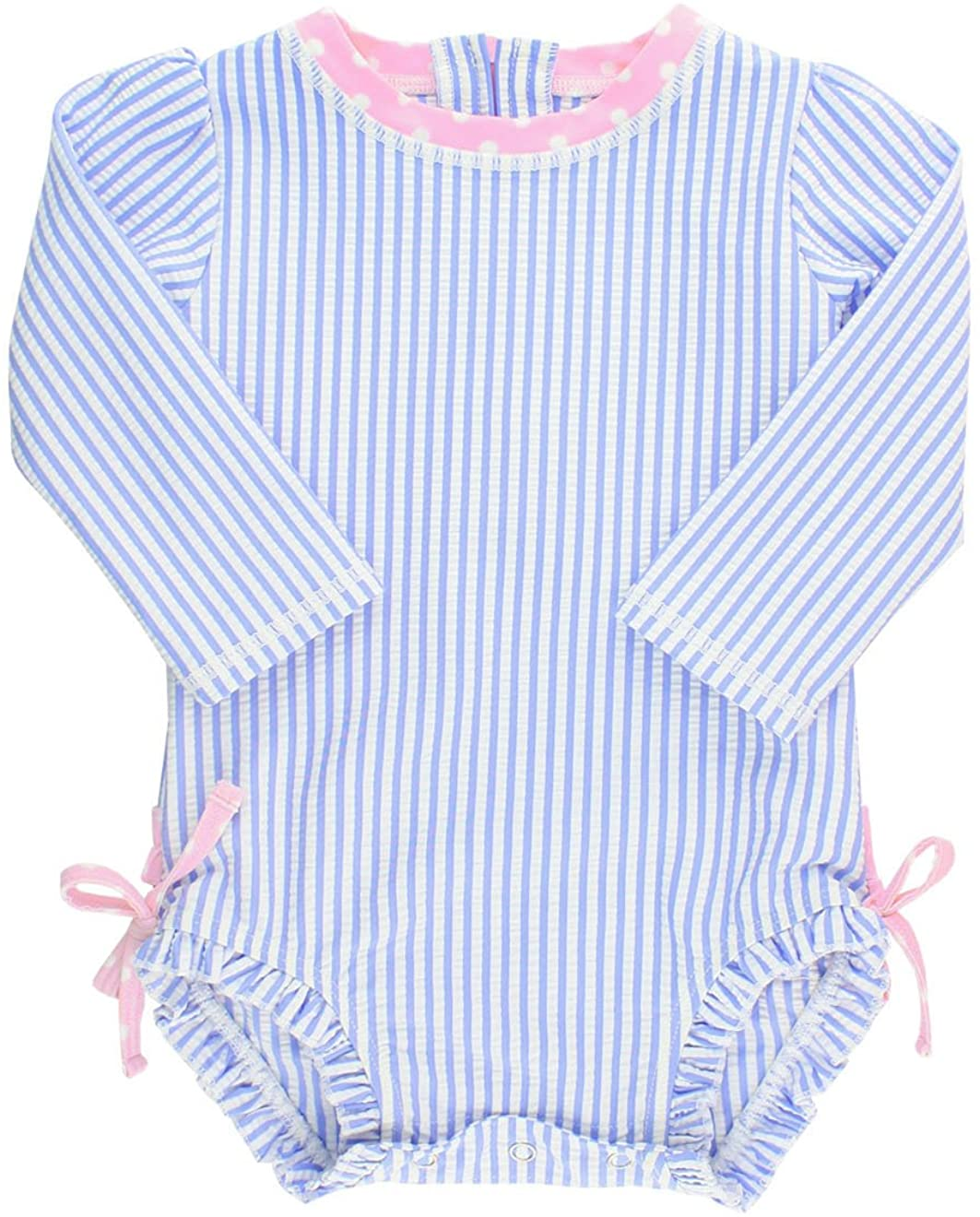 3-6m RuffleButts Baby//Toddler Girls Long Sleeve One Piece Swimsuit Sun Protection Blue Seersucker with UPF 50