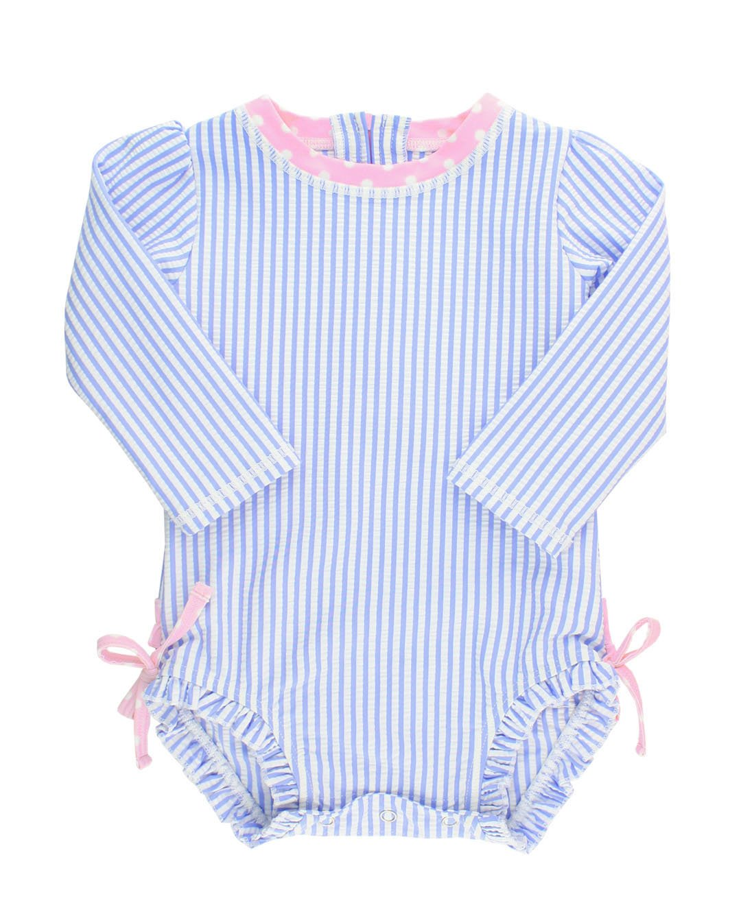 RuffleButts Baby/Toddler Girls Long Sleeve One Piece Swimsuit - Blue Seersucker with UPF 50+ Sun Protection - 12-18m