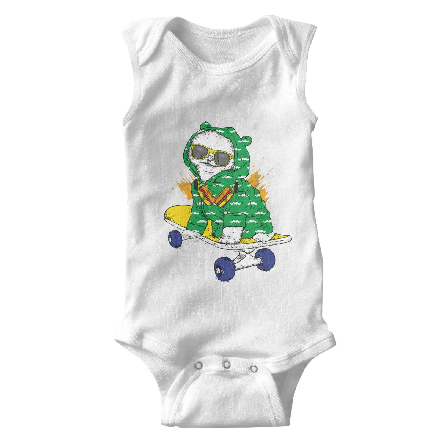 Funny Puppy Dog On Skateboard with Glasses Headphone Unisex Baby Cotton Sleeveless Cute Baby Clothes Baby Onesies White